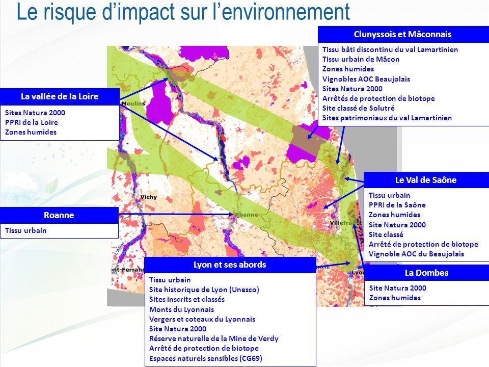 La Dombes Site Natura 2000 Zones humides Lyon et ses abords Tissu urbain Site historique de Lyon (Unesco) Sites inscrits et classés Monts du Lyonnais Vergers et coteaux du Lyonnais Site Natura 2000 Réserve naturelle de la Mine de Verdy Arrêté de protection de biotope Espaces naturels sensibles (CG69) Roanne Tissu urbain La vallée de la Loire Sites Natura 2000 PPRI de la Loire Zones humides Le risque d'impact sur l'environnement Clunyssois et Mâconnais Tissu bâti discontinu du val Lamartinien Tissu urbain de Mâcon Zones humides Vignobles AOC Beaujolais Sites Natura 2000 Arrêtés de protection de biotope Site classé de Solutré Sites patrimoniaux du val Lamartinien Le Val de Saône Tissu urbain PPRI de la Saône Zones humides Site Natura 2000 Site classé Arrêté de protection de biotope Vignoble AOC du Beaujolais