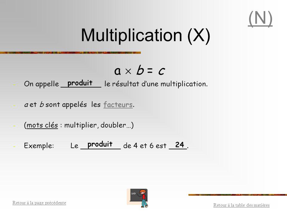 Soustraction (-) a  b = c - On appelle ____________ le résultat d'une soustraction. - a et b sont appelés les _________. - (mots clés : soustraire, r