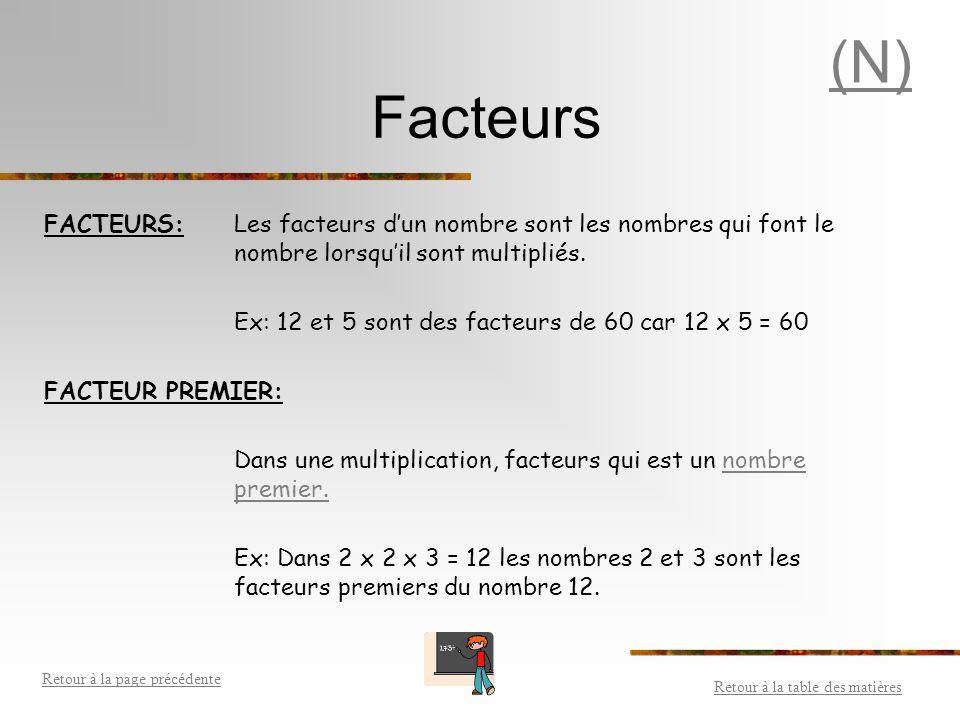 Factorisation première Décomposition d'un nombre sous forme d'une multiplication de facteurs premiers.facteurs premiers La factorisation première d'un