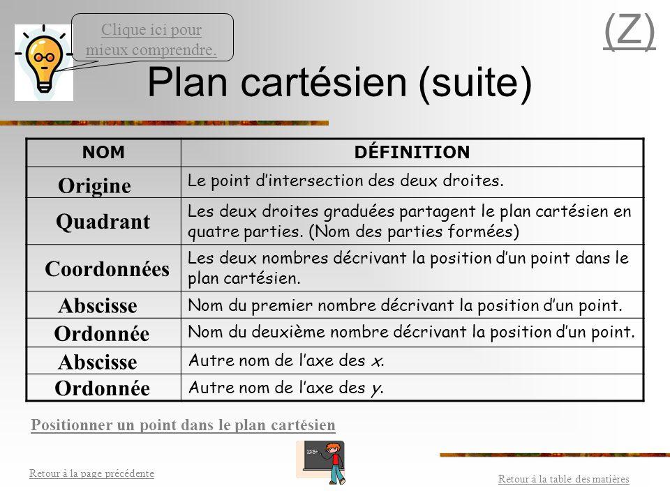 Le plan cartésien Retour à la table des matières Retour à la page précédente (Z) Un plan cartésien est un système de repérage formé de deux droites nu