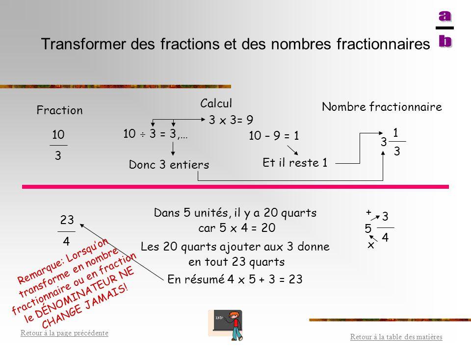 Exemple de fraction Exemple: lecture : Cinq huitièmes Représentation : ___ 5 8 Le _______________________ indique en combien le tout ou ______________