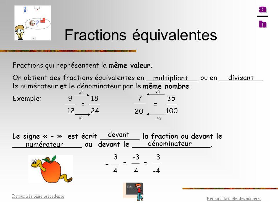 Transformer des fractions et des nombres fractionnaires Retour à la table des matières Retour à la page précédente Nombre fractionnaire Fraction 10 3