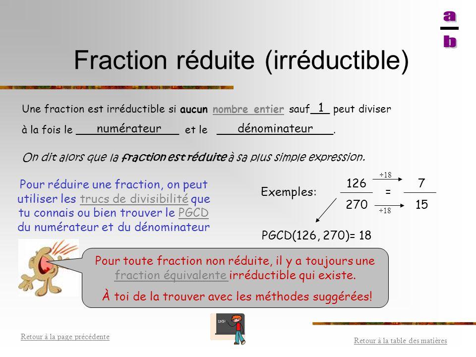 Fractions équivalentes Retour à la table des matières Retour à la page précédente Fractions qui représentent la même valeur. On obtient des fractions