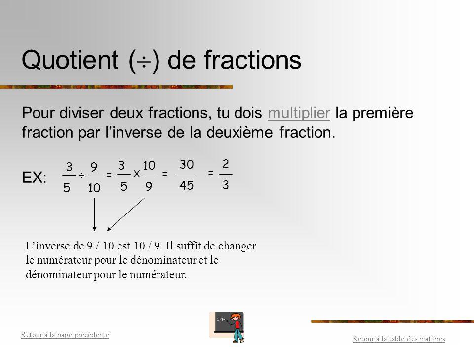 Produit (X) de fractions Pour multiplier des fractions, il suffit de multiplier les numérateurs ensemble et les dénominateurs ensemble. Ex: Retour à l