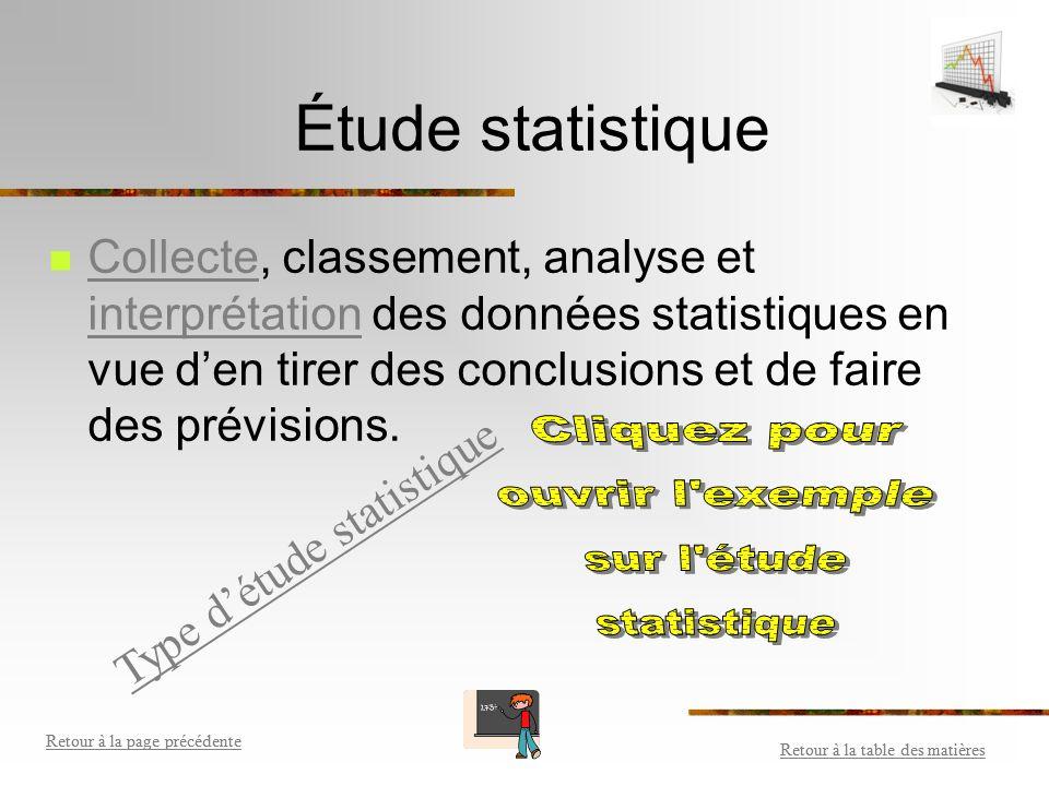 Statistique Étude statistique Type d'étude statistique Population et échantillon Caractère (sujet de l'étude) Collecte de données Source de biais Repr