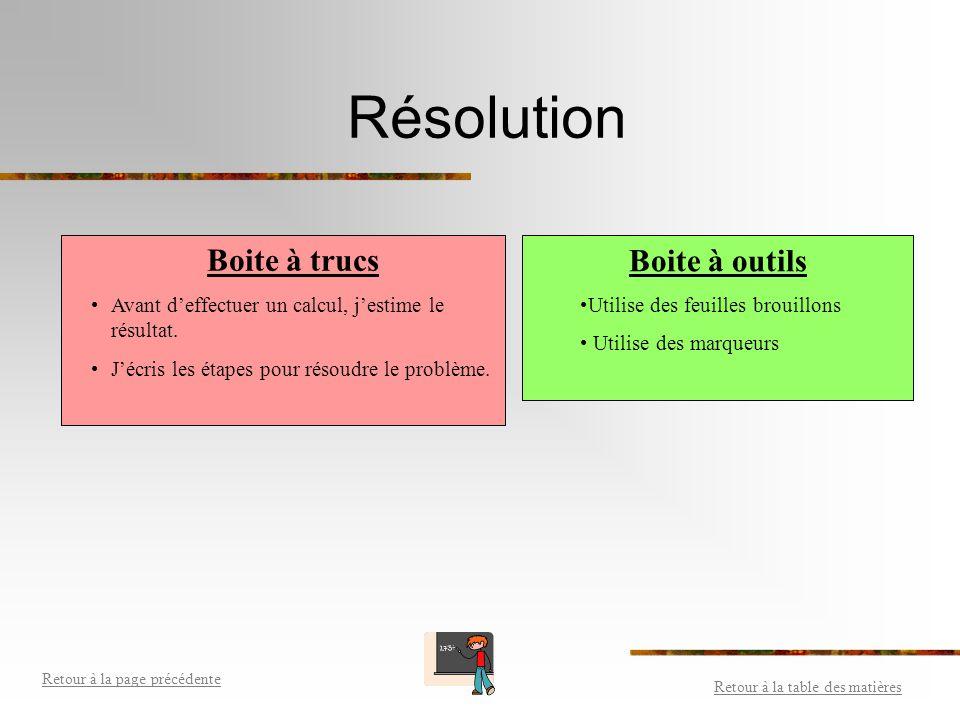 Organisation Boite à outils Utiliser de la couleur. Utiliser une feuille brouillon pour tenter une partie de solution. Utiliser des feuilles quadrillé
