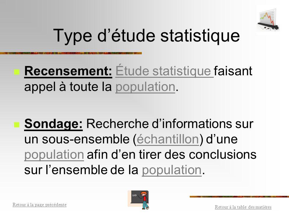 Étude statistique Retour à la table des matières Retour à la page précédente Retour à la table des matières Retour à la page précédente Collecte, clas