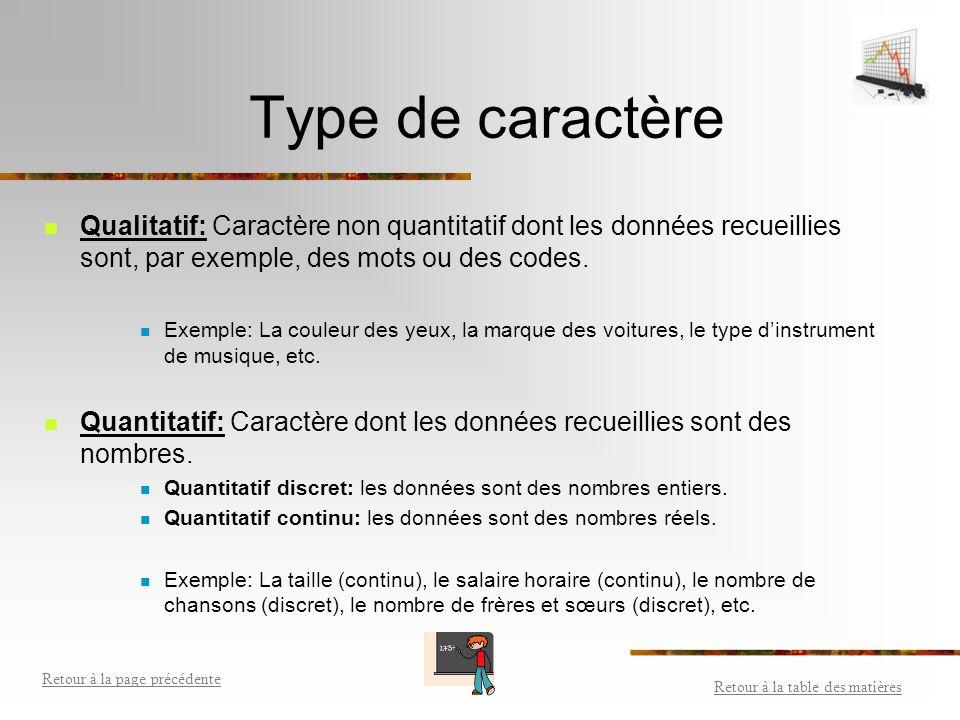 Caractère Trait qui caractérise, qui distingue un objet statistique dans son ensemble. C'est le sujet de l'étude statistique. Il existe deux types de