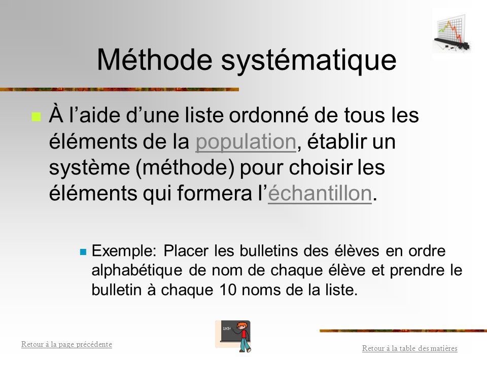 Méthode aléatoire simple Choisir au hasard les éléments qui formera l'échantillon. Chaque élément de la population doit avoir la même chance d'être ch