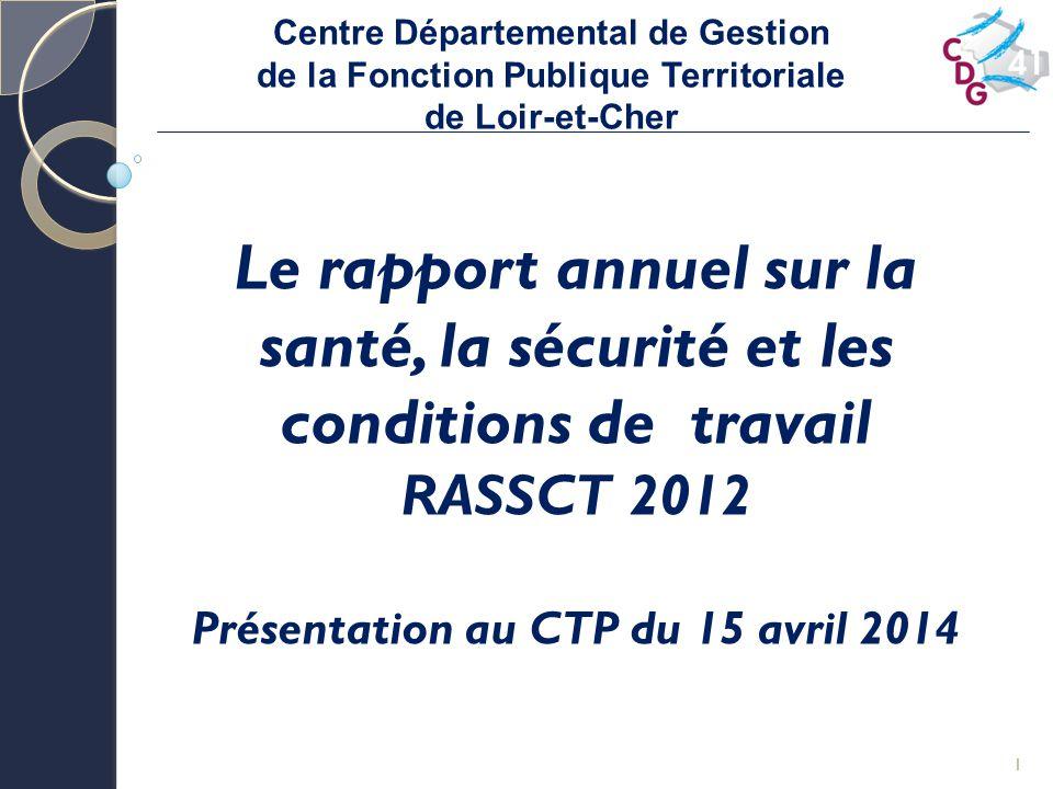 Centre Départemental de Gestion de la Fonction Publique Territoriale de Loir-et-Cher 1 Le rapport annuel sur la santé, la sécurité et les conditions de travail RASSCT 2012 Présentation au CTP du 15 avril 2014