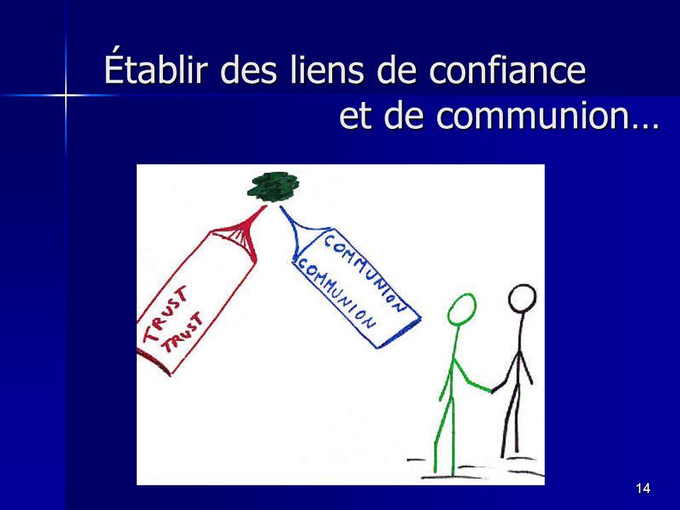 14 Établir des liens de confiance et de communion…