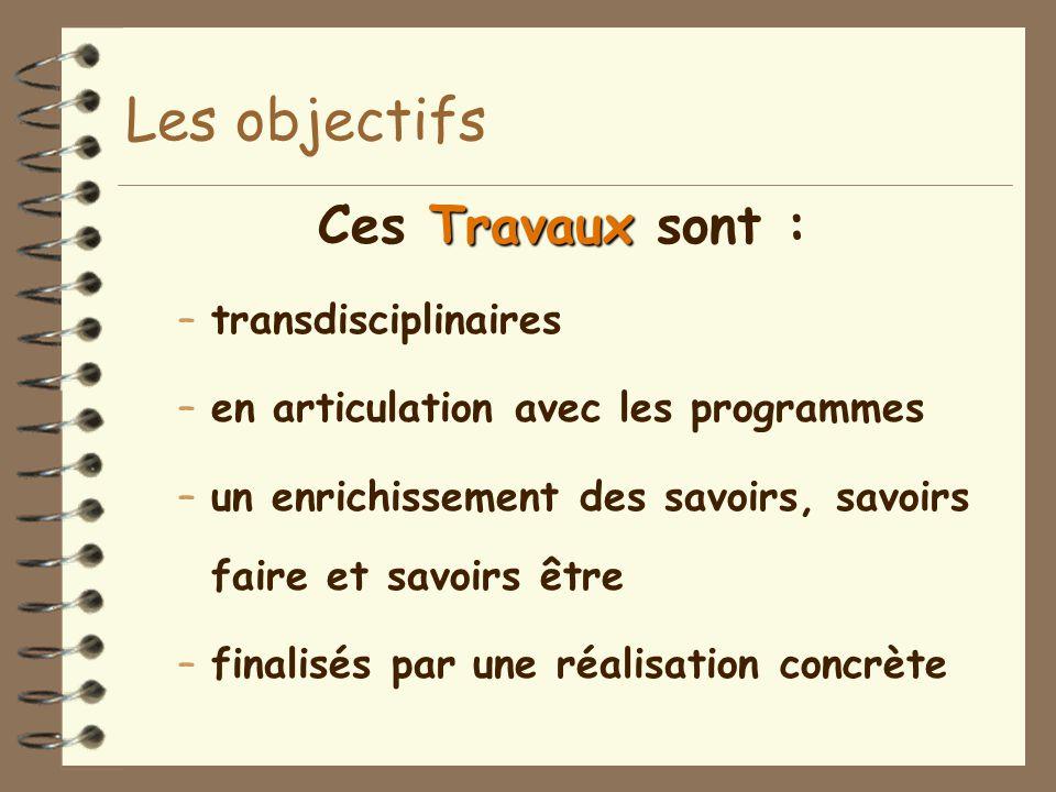 Travaux Ces Travaux sont : –transdisciplinaires –en articulation avec les programmes –un enrichissement des savoirs, savoirs faire et savoirs être –finalisés par une réalisation concrète