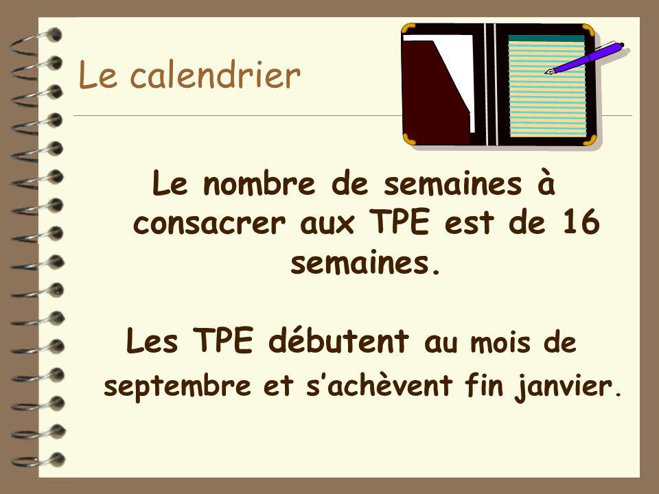 Le calendrier Le nombre de semaines à consacrer aux TPE est de 16 semaines.