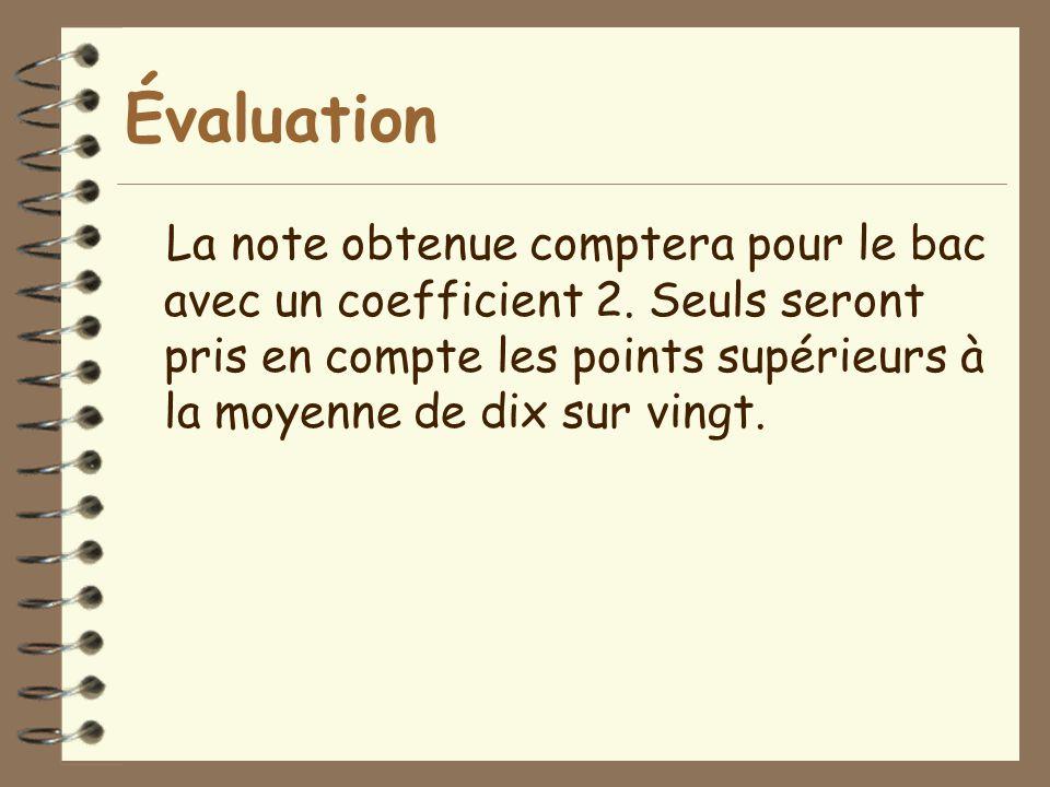 Évaluation La note obtenue comptera pour le bac avec un coefficient 2.