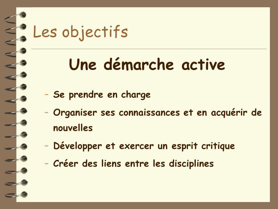Les objectifs Une démarche active –Se prendre en charge –Organiser ses connaissances et en acquérir de nouvelles –Développer et exercer un esprit critique –Créer des liens entre les disciplines