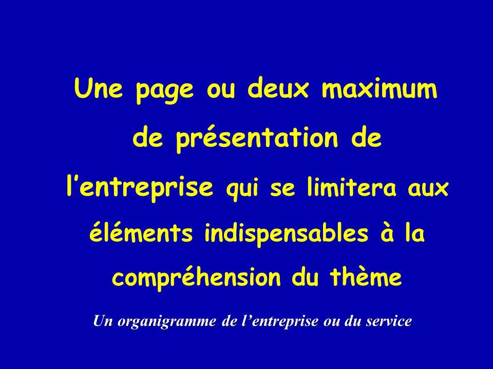 Une page ou deux maximum de présentation de l'entreprise qui se limitera aux éléments indispensables à la compréhension du thème Un organigramme de l'entreprise ou du service