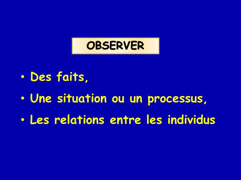 Des faits, Une situation ou un processus, Les relations entre les individus