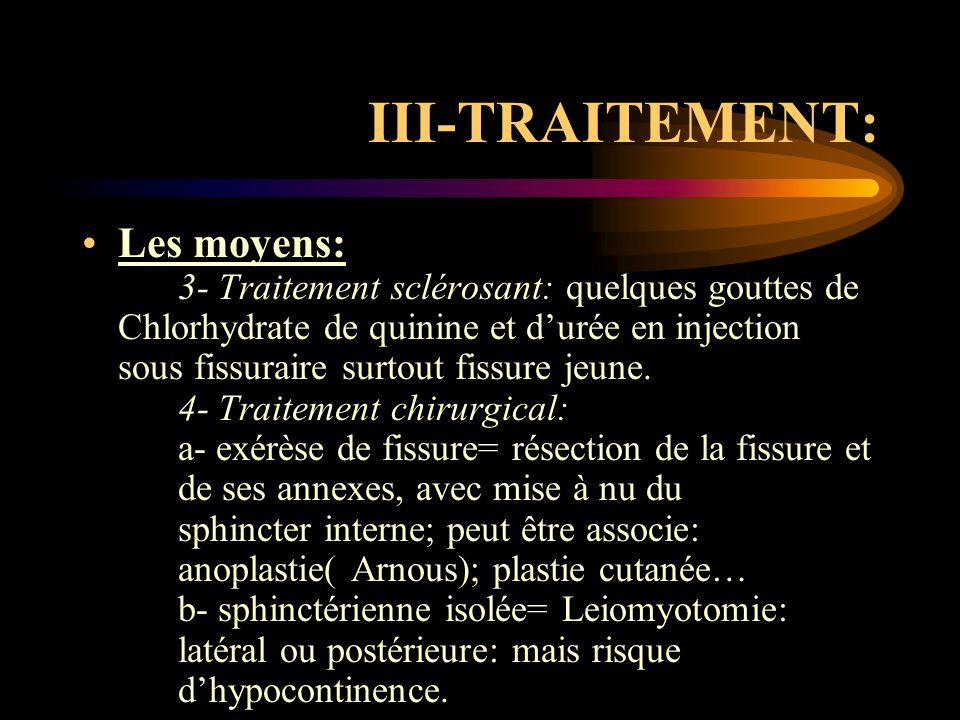 III-TRAITEMENT: Les moyens: 3- Traitement sclérosant: quelques gouttes de Chlorhydrate de quinine et d'urée en injection sous fissuraire surtout fissu