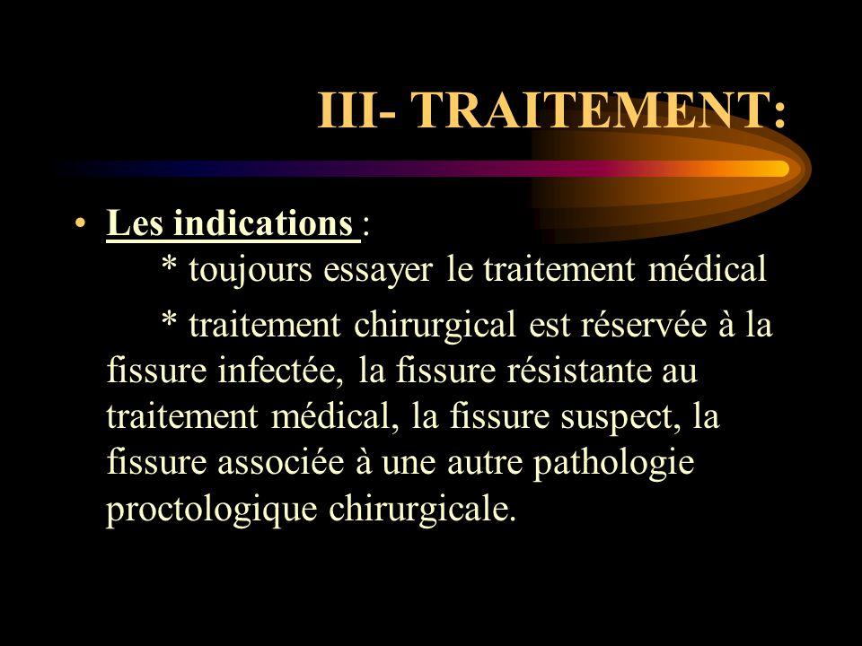 III- TRAITEMENT: Les indications : * toujours essayer le traitement médical * traitement chirurgical est réservée à la fissure infectée, la fissure ré