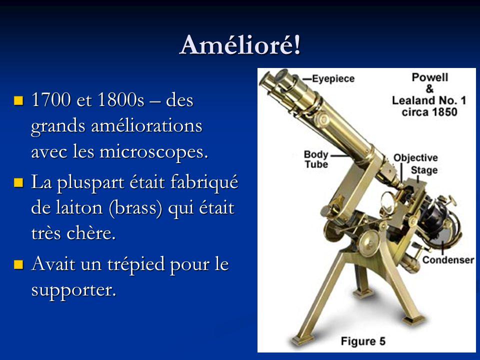 Amélioré.1700 et 1800s – des grands améliorations avec les microscopes.