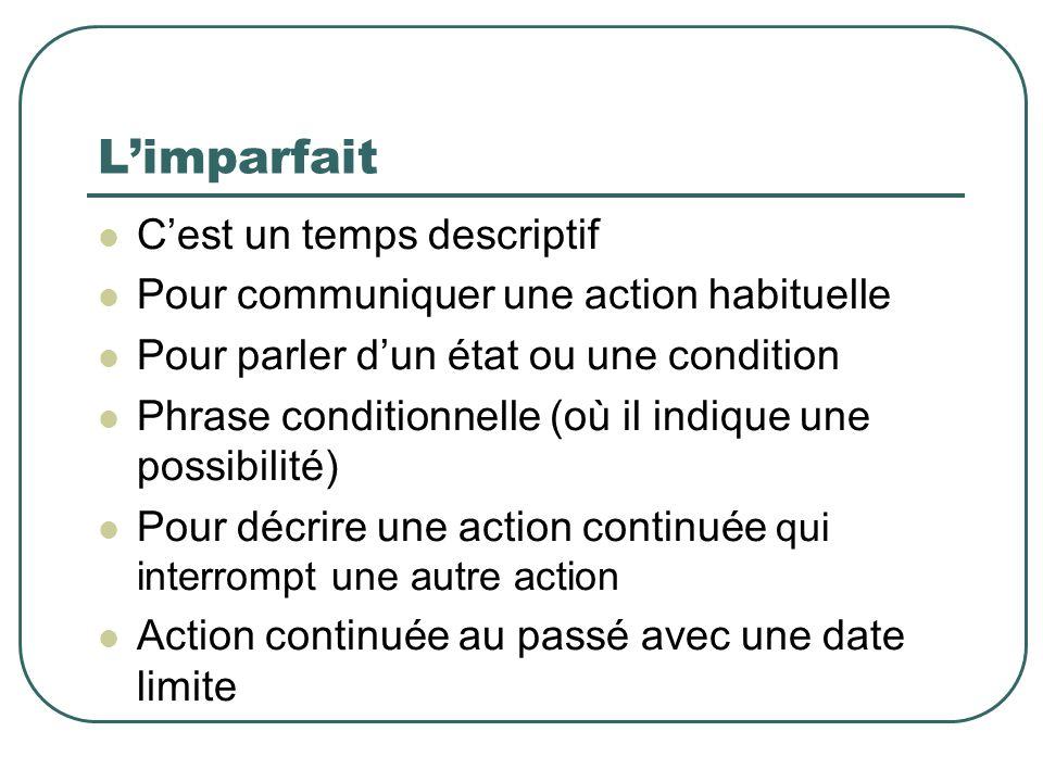 Le passé composé Contrairement à l imparfait, on emploie le PASSÉ COMPOSÉ… Pour décrire une action dont la durée est précise Pour interrompre une action continuée