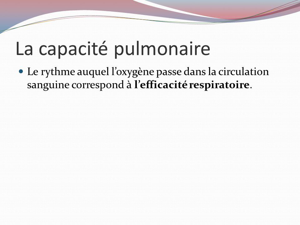 La capacité pulmonaire Le rythme auquel l'oxygène passe dans la circulation sanguine correspond à l'efficacité respiratoire.
