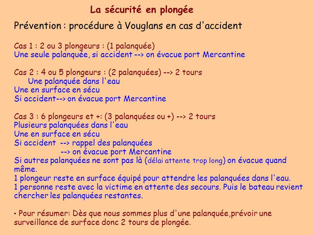 Prévention : procédure à Vouglans en cas d accident Cas 1 : 2 ou 3 plongeurs : (1 palanquée)  Une seule palanquée, si accident --> on évacue port Mercantine Cas 2 : 4 ou 5 plongeurs : (2 palanquées) --> 2 tours Une palanquée dans l eau Une en surface en sécu Si accident--> on évacue port Mercantine Cas 3 : 6 plongeurs et +: (3 palanquées ou +) --> 2 tours  Plusieurs palanquées dans l eau Une en surface en sécu Si accident --> rappel des palanquées --> on évacue port Mercantine Si autres palanquées ne sont pas là ( délai attente trop long ) on évacue quand même.