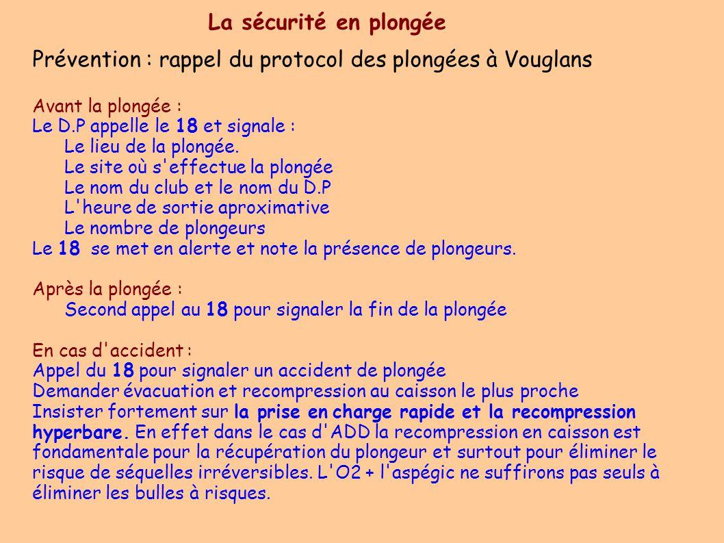 La sécurité en plongée Prévention : rappel du protocol des plongées à Vouglans Avant la plongée :  Le D.P appelle le 18 et signale : Le lieu de la plongée.