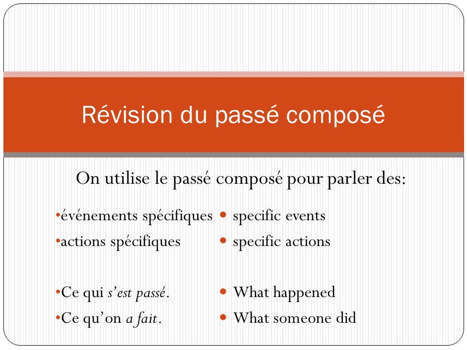 On utilise le passé composé pour parler des: Révision du passé composé événements spécifiques actions spécifiques Ce qui s'est passé.