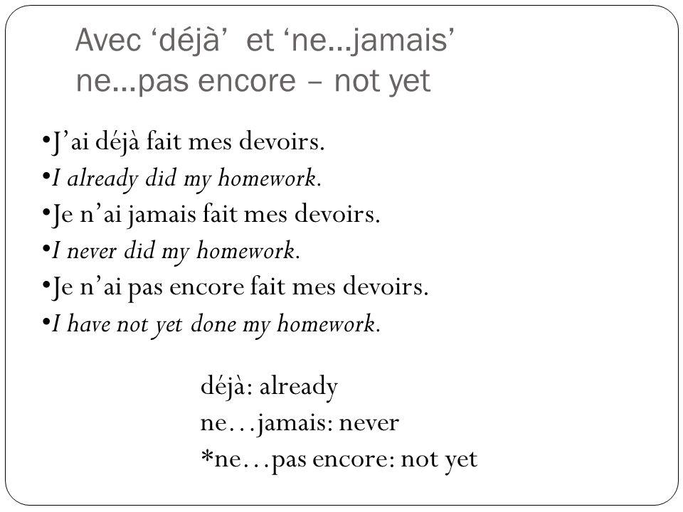 Avec les adverbes: Les adverbes de temps Temporal adverbs (related to time): Go after the past participle Early: Tôt Late: Tard Je me suis levé(e) tôt aujourd'hui.