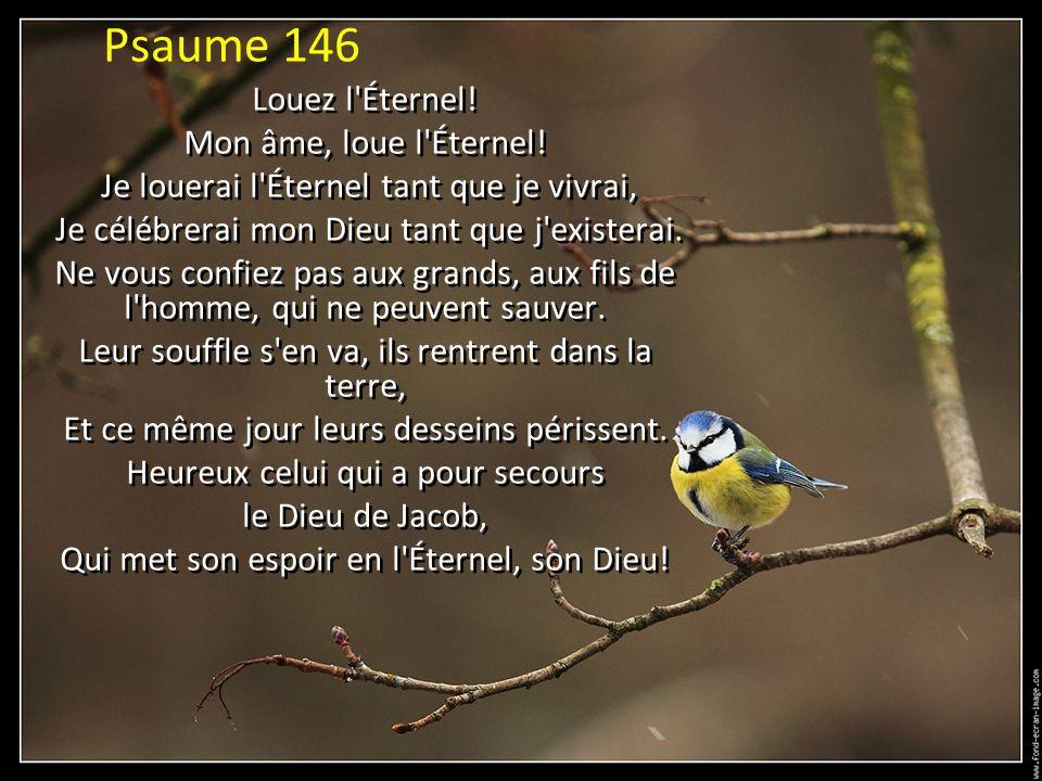 Psaume 146 Louez l Éternel.Mon âme, loue l Éternel.