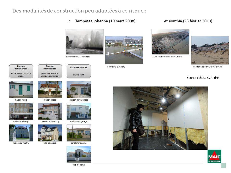 Des modalités de construction peu adaptées à ce risque : Source : thèse C. André