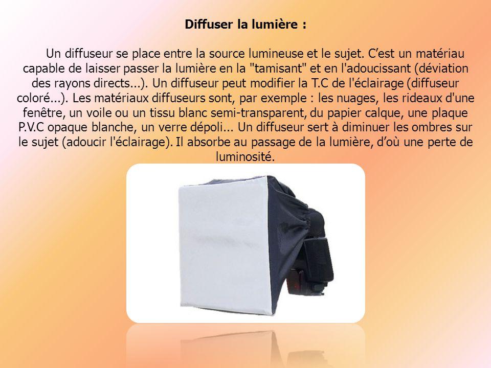 Diffuser la lumière : Un diffuseur se place entre la source lumineuse et le sujet.