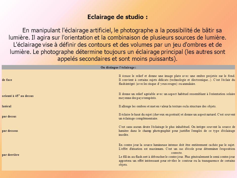 Eclairage de studio : En manipulant l éclairage artificiel, le photographe a la possibilité de bâtir sa lumière.