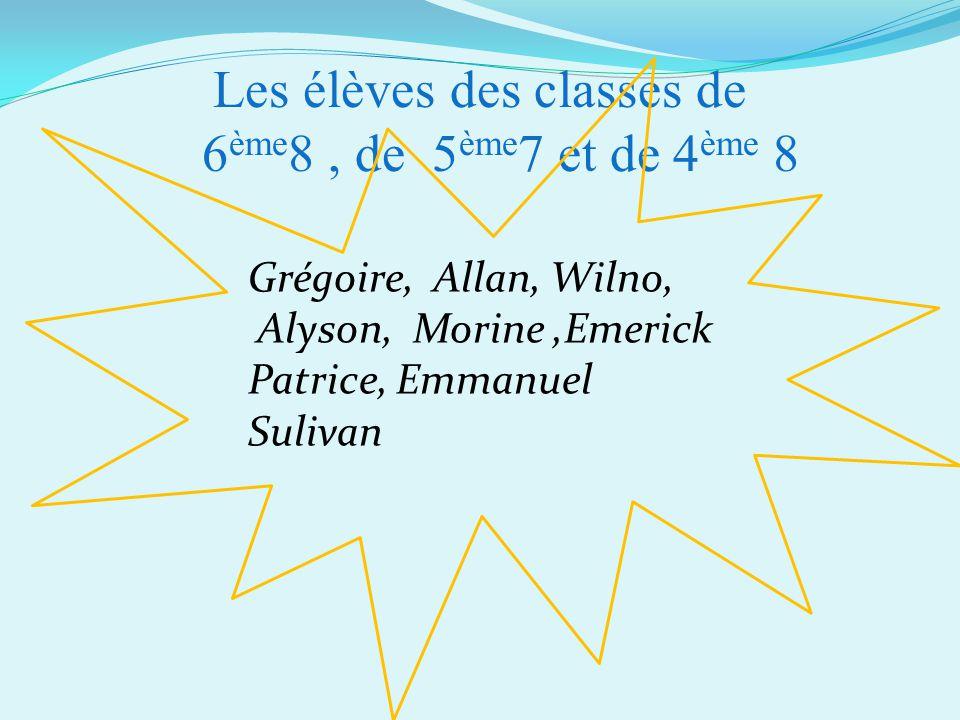 Les élèves des classes de 6 ème 8, de 5 ème 7 et de 4 ème 8 Grégoire, Allan, Wilno, Alyson, Morine,Emerick Patrice, Emmanuel Sulivan