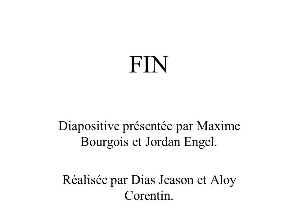 FIN Diapositive présentée par Maxime Bourgois et Jordan Engel. Réalisée par Dias Jeason et Aloy Corentin.