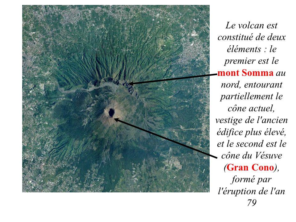 Le volcan est constitué de deux éléments : le premier est le mont Somma au nord, entourant partiellement le cône actuel, vestige de l'ancien édifice p
