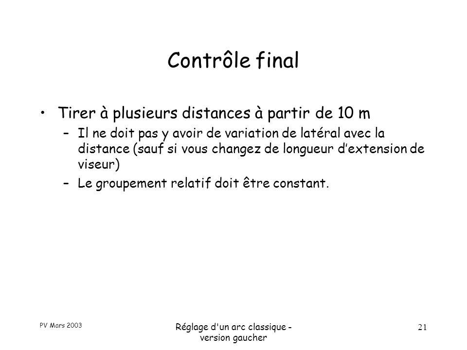 PV Mars 2003 Réglage d un arc classique - version gaucher 21 Contrôle final Tirer à plusieurs distances à partir de 10 m –Il ne doit pas y avoir de variation de latéral avec la distance (sauf si vous changez de longueur d'extension de viseur) –Le groupement relatif doit être constant.