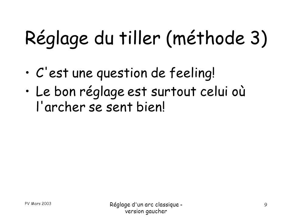 PV Mars 2003 Réglage d un arc classique - version gaucher 9 Réglage du tiller (méthode 3) C est une question de feeling.