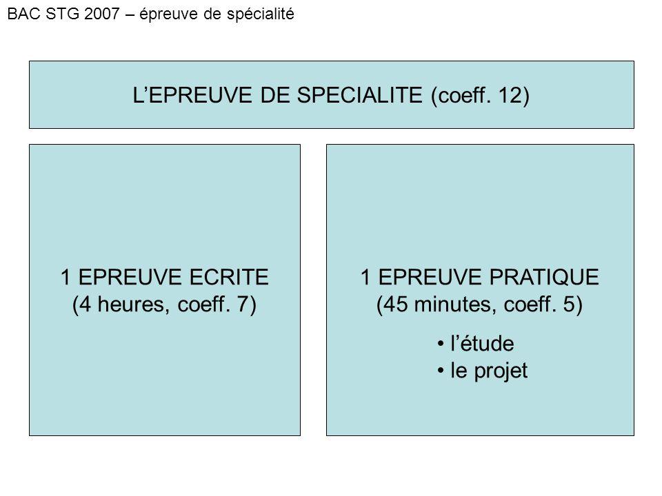 BAC STG 2007 – épreuve de spécialité L'EPREUVE DE SPECIALITE (coeff.