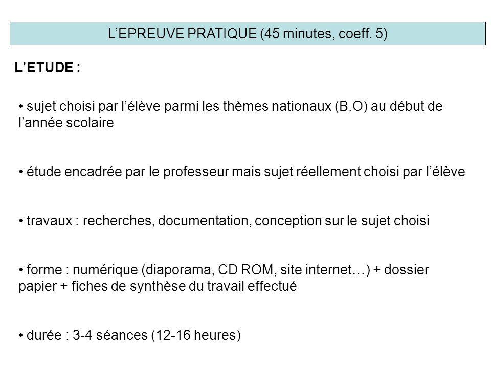 L'EPREUVE PRATIQUE (45 minutes, coeff.