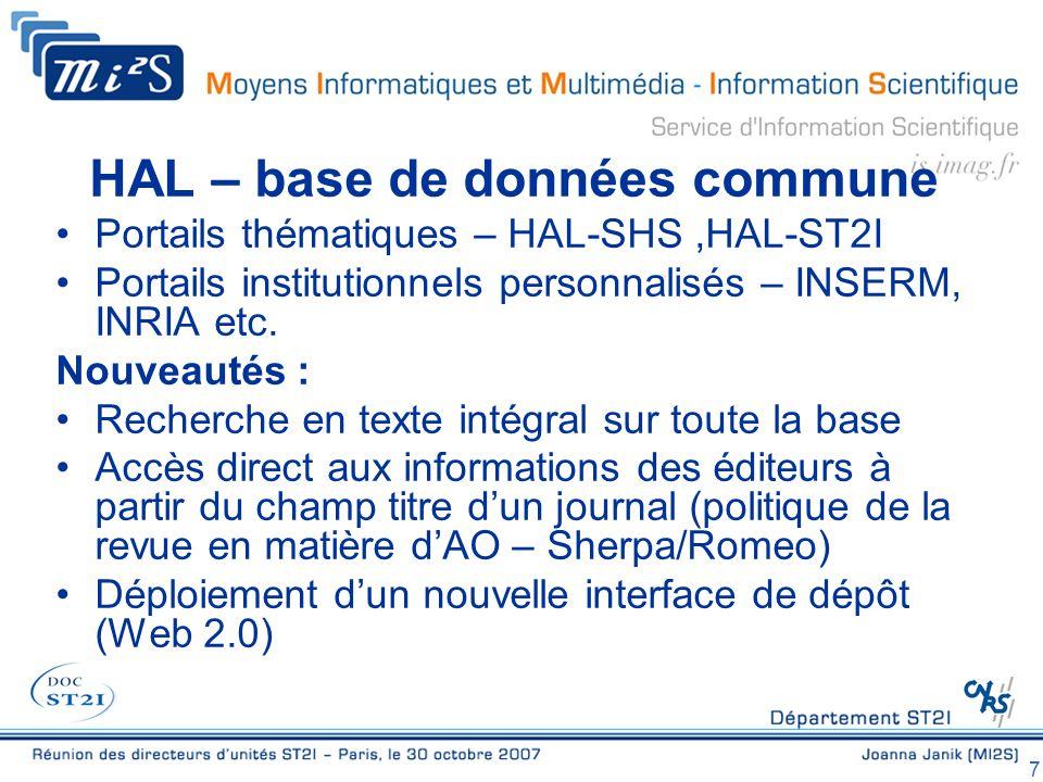 7 HAL – base de données commune Portails thématiques – HAL-SHS,HAL-ST2I Portails institutionnels personnalisés – INSERM, INRIA etc.