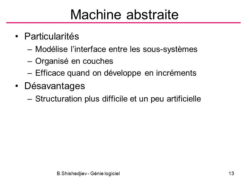 B.Shishedjiev - Génie logiciel13 Machine abstraite Particularités –Modélise l'interface entre les sous-systèmes –Organisé en couches –Efficace quand on développe en incréments Désavantages –Structuration plus difficile et un peu artificielle