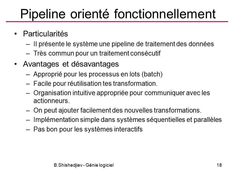 B.Shishedjiev - Génie logiciel18 Pipeline orienté fonctionnellement Particularités –Il présente le système une pipeline de traitement des données –Très commun pour un traitement consécutif Avantages et désavantages –Approprié pour les processus en lots (batch) –Facile pour réutilisation tes transformation.