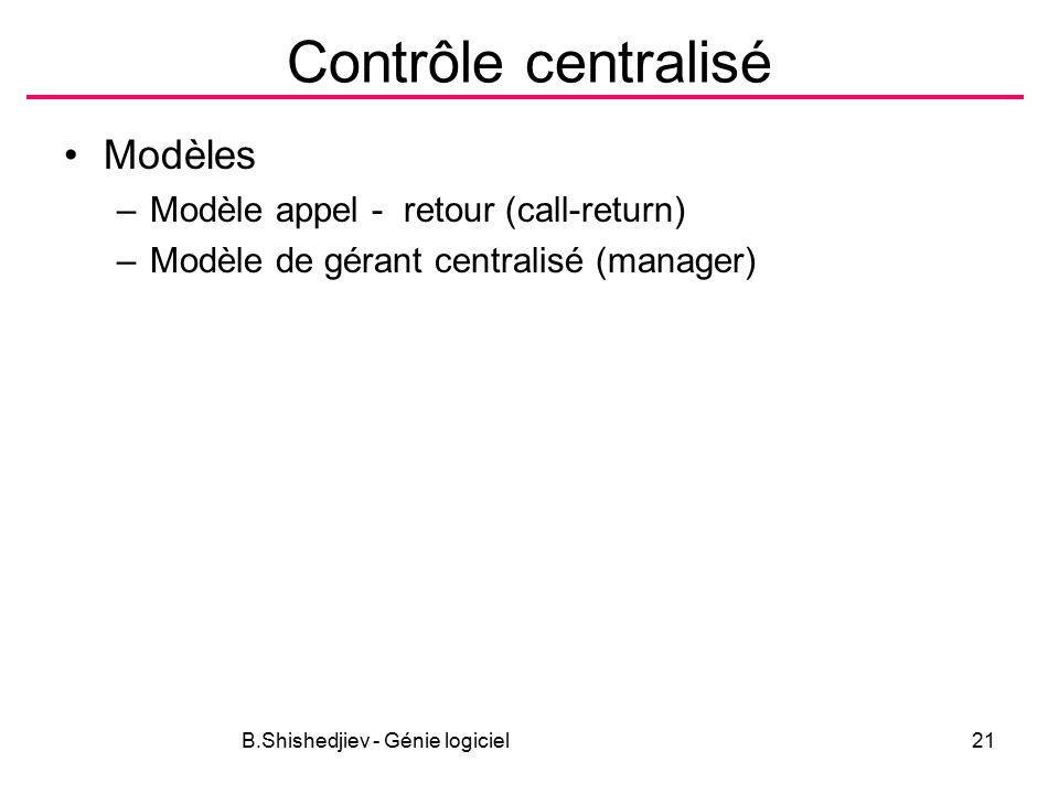 B.Shishedjiev - Génie logiciel21 Contrôle centralisé Modèles –Modèle appel - retour (call-return) –Modèle de gérant centralisé (manager)