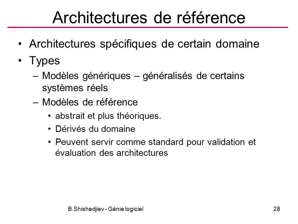 B.Shishedjiev - Génie logiciel28 Architectures de référence Architectures spécifiques de certain domaine Types –Modèles génériques – généralisés de certains systèmes réels –Modèles de référence abstrait et plus théoriques.