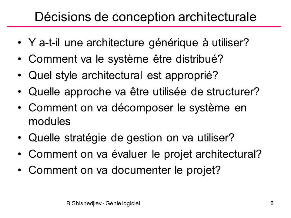 B.Shishedjiev - Génie logiciel6 Décisions de conception architecturale Y a-t-il une architecture générique à utiliser.