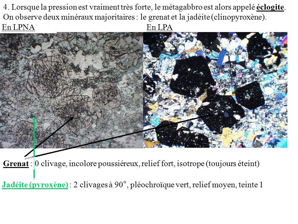 4.Lorsque la pression est vraiment très forte, le métagabbro est alors appelé éclogite.
