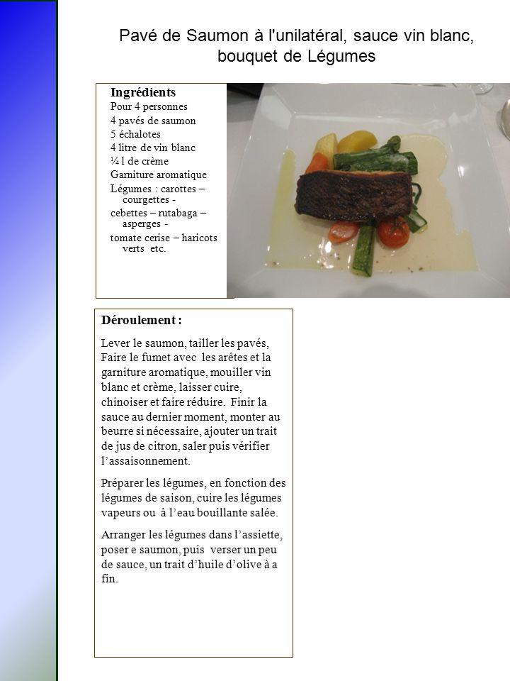 Pavé de Saumon à l'unilatéral, sauce vin blanc, bouquet de Légumes Ingrédients Pour 4 personnes 4 pavés de saumon 5 échalotes 4 litre de vin blanc ¼ l
