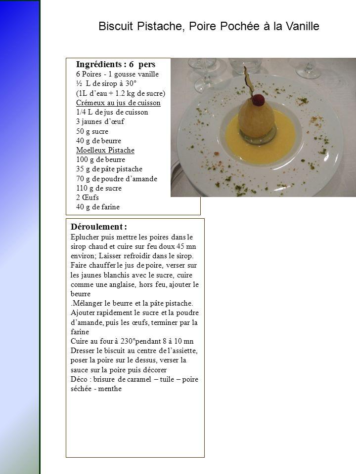 Biscuit Pistache, Poire Pochée à la Vanille Ingrédients : 6 pers 6 Poires - 1 gousse vanille ½ L de sirop à 30° (1L d'eau + 1.2 kg de sucre) Crémeux a